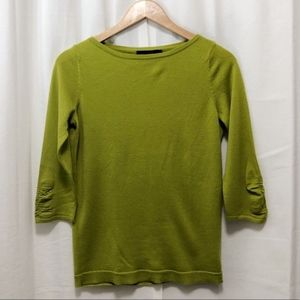 The LImited apple green merino-blend knit top M